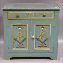 Martha and Ralph Cahoon Polychrome Painted and Masonic-decorated Pine Commode