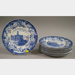Set of Ten Wedgwood Harvard University Blue and White Transfer-decorated Ceramic   Dinner Plates