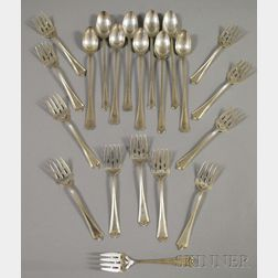 Approximately Twenty-one Sterling Silver and Silver-plated Flatware Items