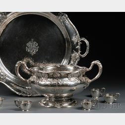 Gorham Presentation Sterling Silver Punch Bowl, Tray, and Twelve Cup Holders