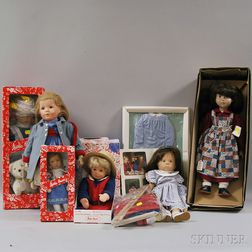 Group of Kathe Kruse, Sigikid, and Gotz Dolls and Accessories