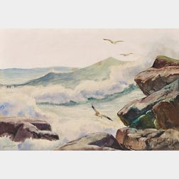 Anthony Thieme (American, 1888-1954)      Surf and Gulls