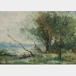 School of Jean-Baptiste-Camille Corot (French, 1796-1875)      Landscape with Pond