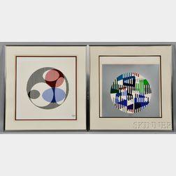 Yaacov Agam (Israeli, b. 1928)    Two Geometric Screenprints