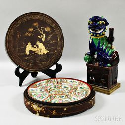 Rose Medallion Sweetmeat Dish Set and a Temple Lion