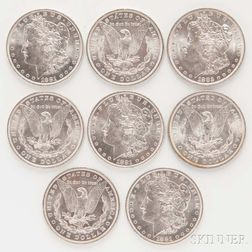 Eight Uncirculated Morgan Dollars