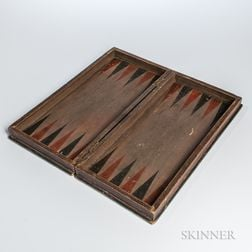 Polychrome Painted Wooden Folding Checkers/Backgammon Game Board