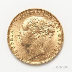 1872-S British Gold Sovereign.     Estimate $300-500