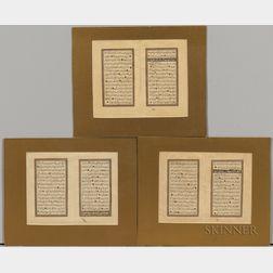 Three Double-folio Leaves of Calligraphy