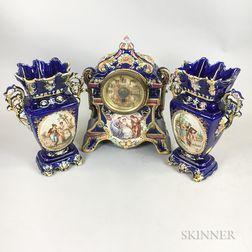 German Ceramic Three-piece Figural-decorated Clock Garniture