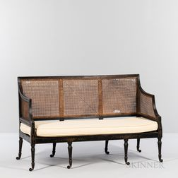 Regency-style Caned Black-painted Settee