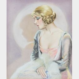 Framed Muriel Robinson (American, 19th/20th Century) Pastel Portrait of Silent Film Actress Vilma Banky