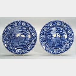 Two Historic Blue and White Transfer Decorated Staffordshire Plates