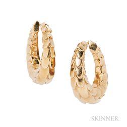 18kt Gold Hoop Earclips, Cartier