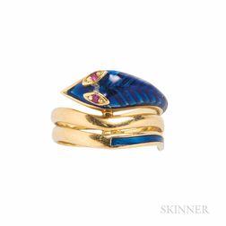 18t Gold and Enamel Snake Ring