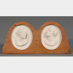 Pair of Wedgwood and Bentley Solid White Jasper Portrait Medallions