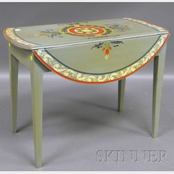 Martha and Ralph Cahoon Polychrome Paint-decorated Drop-leaf Pembroke Table