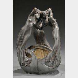 Art Nouveau White Metal Figural Basket