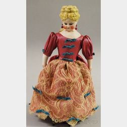 Turned Parian Shoulder Head Doll with Fancy Blonde Hairdo