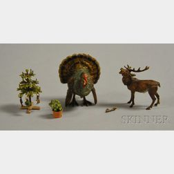 Austrian Miniature Cold-painted Bronze Christmas Tree, Reindeer, Potted Plant, and   Turkey Figures