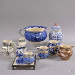 Ten Wedgwood Transfer-decorated Items