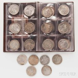 Forty Circulated Morgan and Peace Dollars.