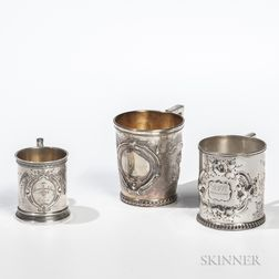 Three American Silver Christening Cups