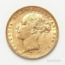 1879-M British Gold Sovereign.     Estimate $300-500