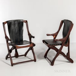 Two Scandinavian Modern Walnut and Leather Folding Chairs