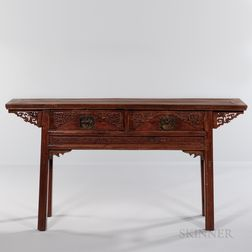 Recessed-leg Carved Hardwood Table