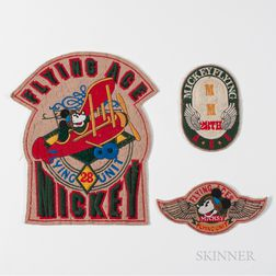 """Three """"Flying Aces"""" Mickey Mouse Patches"""