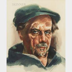 William Samuel Schwartz (American, 1896-1977)      Portrait Head of a Working Man in a Cap.