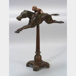 Carved and Painted Wooden Jockey and Racehorse