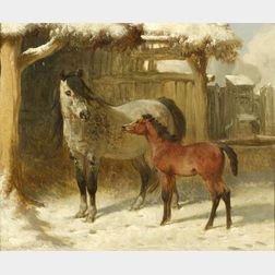 Attributed to John Frederick Herring Sr. (British, 1795-1865)  A Mare and Foal in a Farmyard in Winter