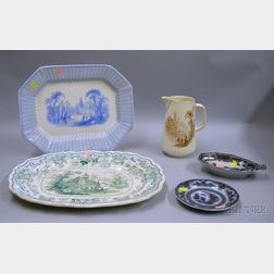 Five Pieces of English Transfer Decorated Staffordshire Tableware