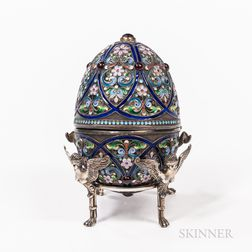 Russian Silver and Enameled Easter Egg Box