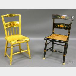 Two Polychrome Paint-decorated Hitchcock-type Side Chairs