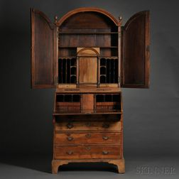 Early Georgian Walnut Bureau Cabinet