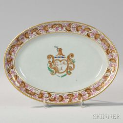 Small Oval Armorial Export Porcelain Platter