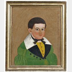 "American School, Early 19th Century      Portrait of Benjamin ""Bennie"" Weeks (1835-1877), of Jefferson, Maine"