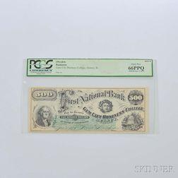 1873 Gem City Business College $500 Banknote, PCGS 66PPQ