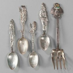 Five Pieces of American Sterling Silver Flatware
