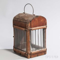 Early Red-stained Wooden Lantern