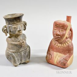 Two Pre-Columbian Figurative Pottery Vessels