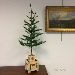 Early Christmas Tree on Stenciled Pine Stand