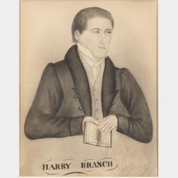American School, 19th Century      Portrait of Harry Branch
