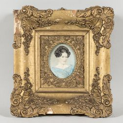 American School, c. 1830      Miniature Portrait of Mrs. Jean McKelvie Davis