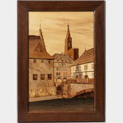 T.L. Spindler Marquetry Picture of the Pont du Corbeau in Strasbourg