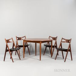 "Hans J. Wegner (1914-2007) Dining Table and Four ""Model CH 29"" Side Chairs"