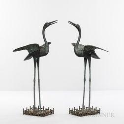 Pair of Bronze Cranes